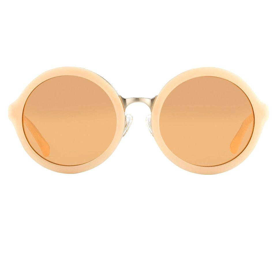 Phillip Lim Sunglasses with Round Apricot Brushed Gold and Dark Brown Lenses - PL11C15SUN - Watches & Crystals