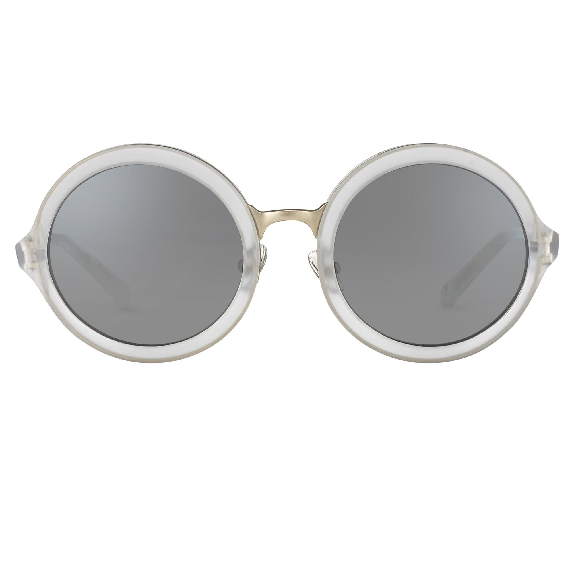 Phillip Lim Sunglasses with Round Clear Brushed Silver and Smoke Mirror Lenses Category 3 - PL11C23SUN - Watches & Crystals