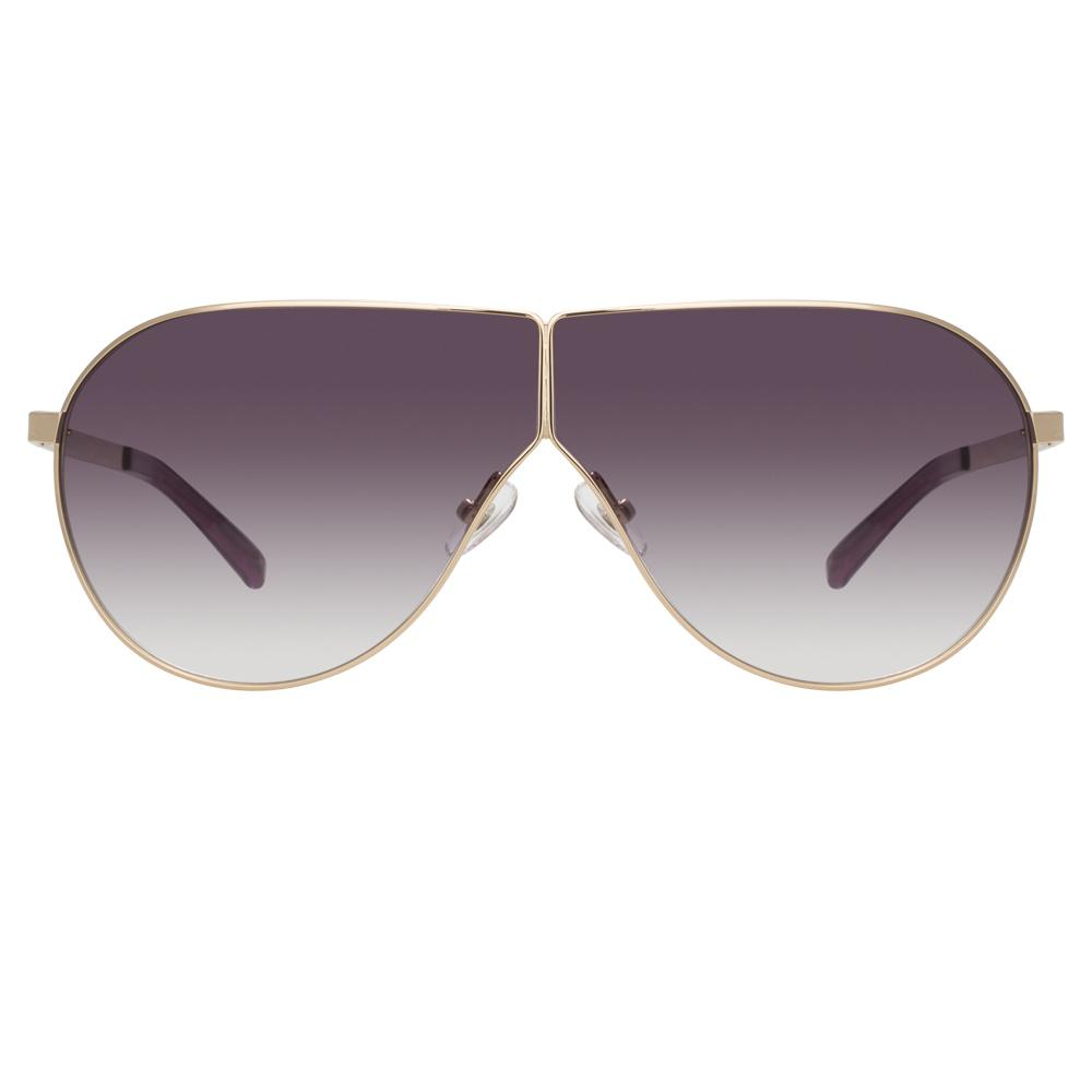Phillip Lim Sunglasses Women's Shield Shape Clear Purple and Gold CAT3 Purple Graduated Lenses PL171C11SUN - Watches & Crystals