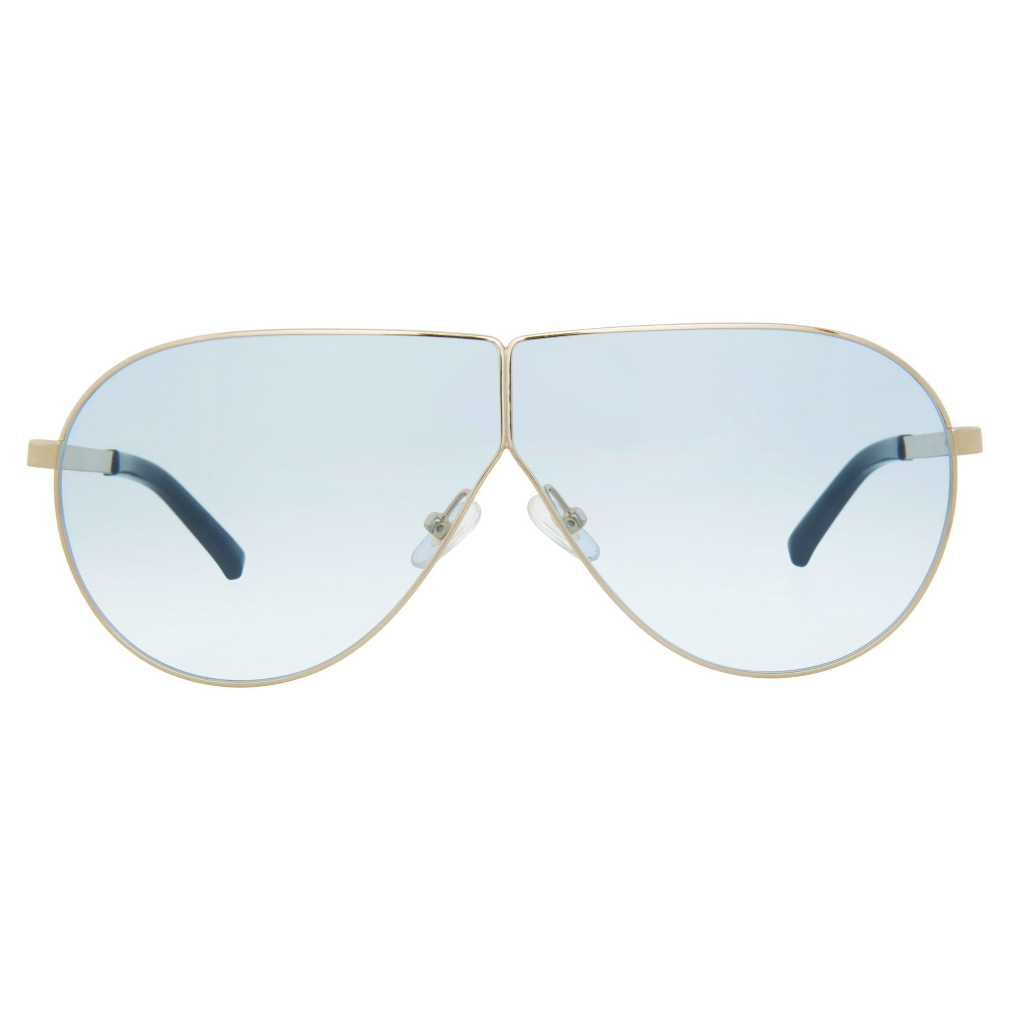 Phillip Lim Sunglasses Women's Shield Shape Light Gold/Black CAT1 Light Blue Lenses PL171C1SUN - Watches & Crystals