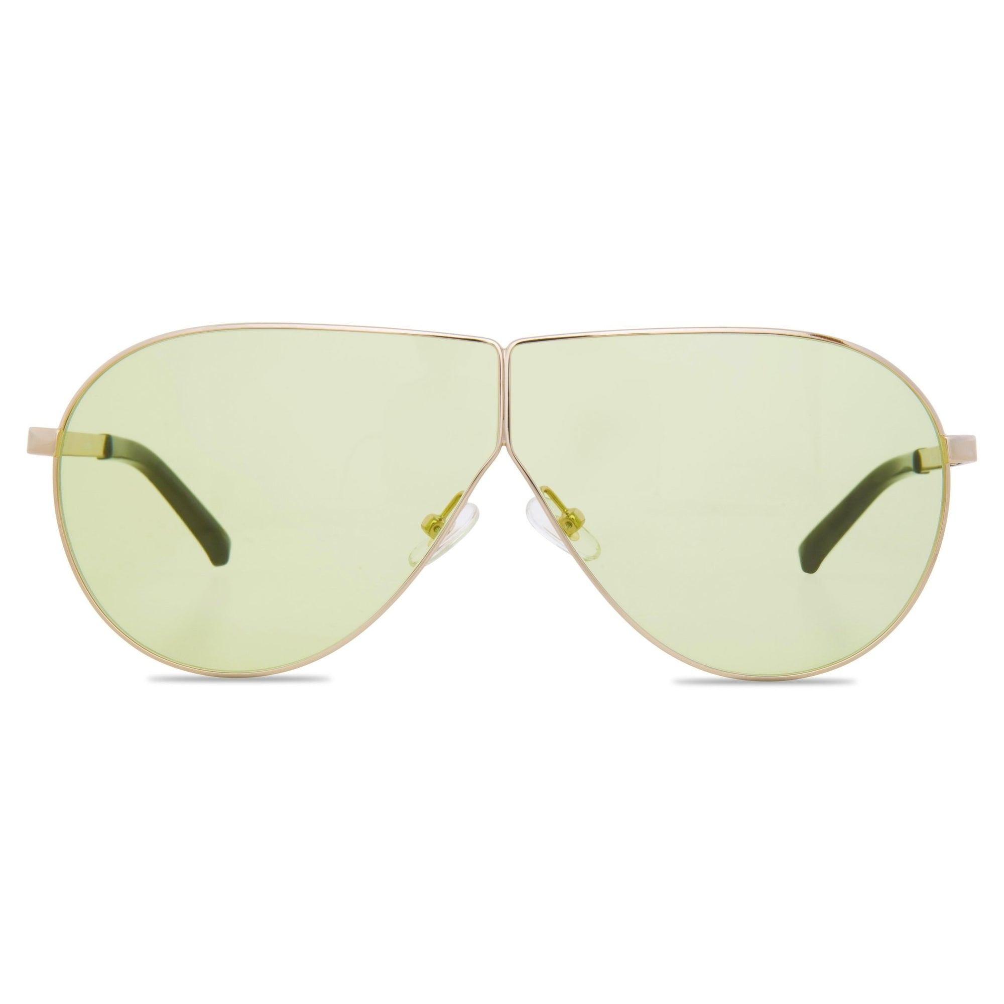 Phillip Lim Sunglasses Women's Shield Shape Light Gold/Black with CAT1 Light Green Lenses PL171C2SUN - Watches & Crystals