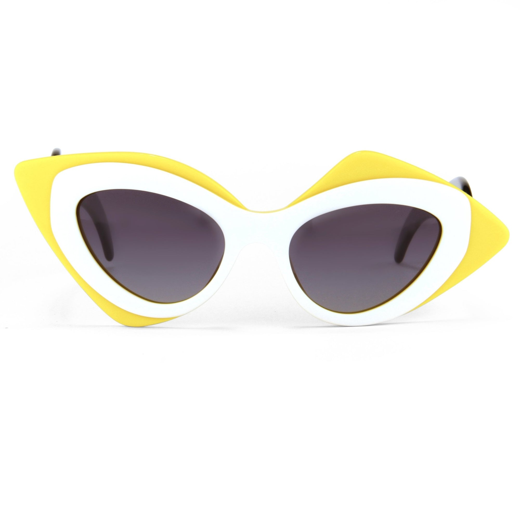 Prabal Gurung Sunglasses Cat Eye Mask Female Yellow And White Frame Category 3 Dark Grey Lenses PG17C5SUN - Watches & Crystals