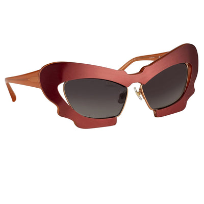 Prabal Gurung Sunglasses Female Cat Eye Brushed Red Category 3 Grey Gradient Lenses PG1C10SUN - Watches & Crystals