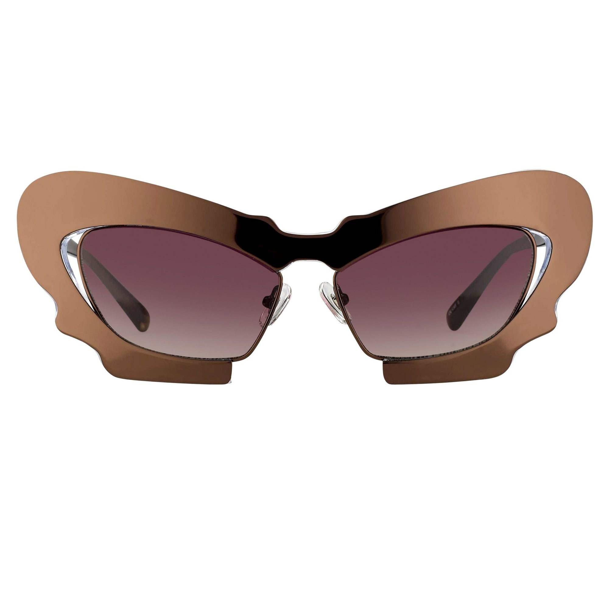Prabal Gurung Sunglasses Female Cat Eye Chocolate Bronze Category 2 Red Gradient Lenses PG1C12SUN - Watches & Crystals