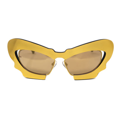 Prabal Gurung Sunglasses Female Cat Eye Gold CAT2 Gold Mirror Lenses PG1C9SUN - Watches & Crystals