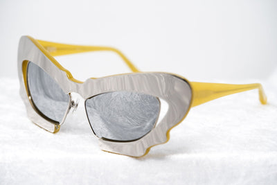 Prabal Gurung Sunglasses Female Cat Eye Silver Mustard Yellow Category 3 Silver Mirror Lenses PG1C11SUN - Watches & Crystals