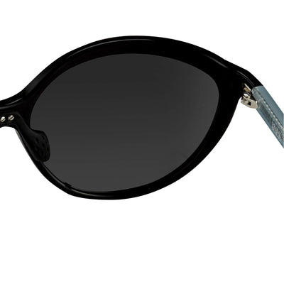 Prabal Gurung Sunglasses Female Oversized Black and Black/Teal Category 3 Silver Mirror Lenses PG22C5SUN - Watches & Crystals