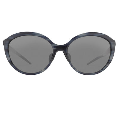 Prabal Gurung Sunglasses Female Oversized Blue Horn and Clear Pink/Black Category 3 Grey Mirror Lenses PG22C1SUN - Watches & Crystals