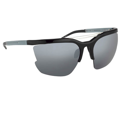 Prabal Gurung Sunglasses Female Special Frame Shiny Black Category 3 Grey Mirror Lenses PG21C5SUN - Watches & Crystals