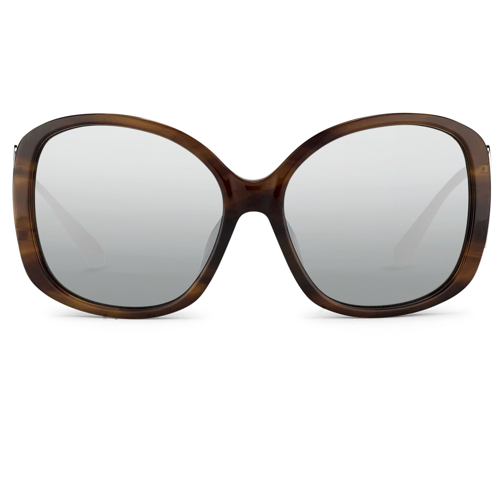 Prabal Gurung Sunglasses Oversized Female Amaretto Brown Frame Category 3 Silver Mirros Lenses PG23C3SUN - Watches & Crystals