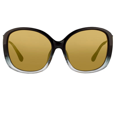 Prabal Gurung Sunglasses Oversized Female Black to Clear/Gold Frame Category 2 Gold Mirror Lenses PG23C1SUN - Watches & Crystals