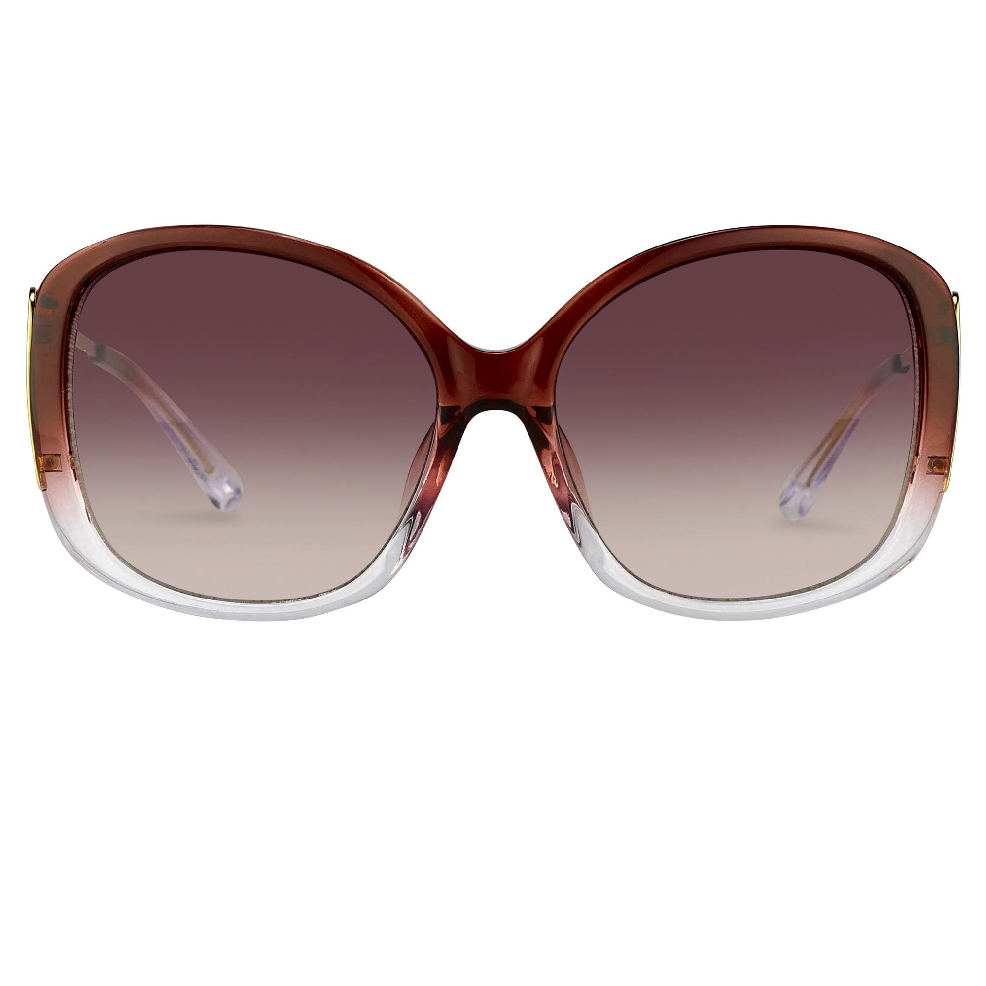 Prabal Gurung Sunglasses Oversized Female Maroon To Clear Frame Category 2 Red Gradient Lenses PG23C4SUN - Watches & Crystals