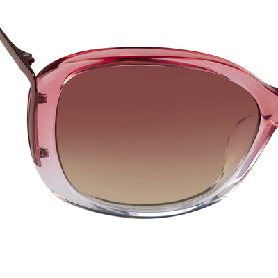 Prabal Gurung Sunglasses Oversized Female Pink to Clear/Metallic Pink Frame Category 1 Pink Gradient Lenses PG23C5SUN - Watches & Crystals