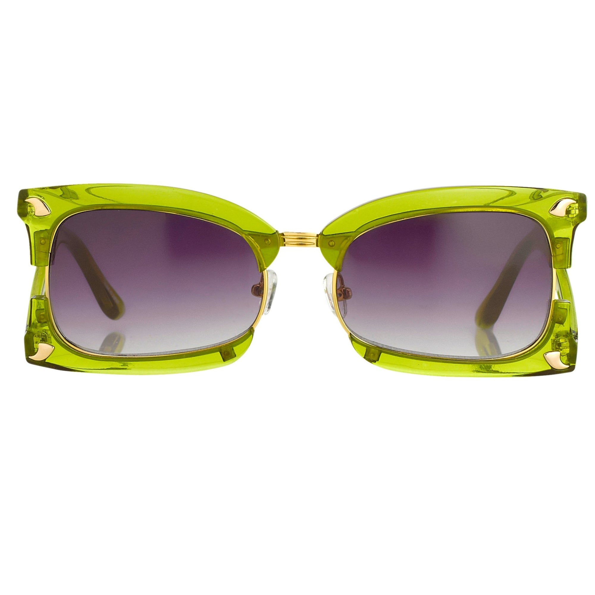 Prabal Gurung Sunglasses Rectangular Apple Green With Purple Category 3 Graduated Lenses PG2C4SUN - Watches & Crystals