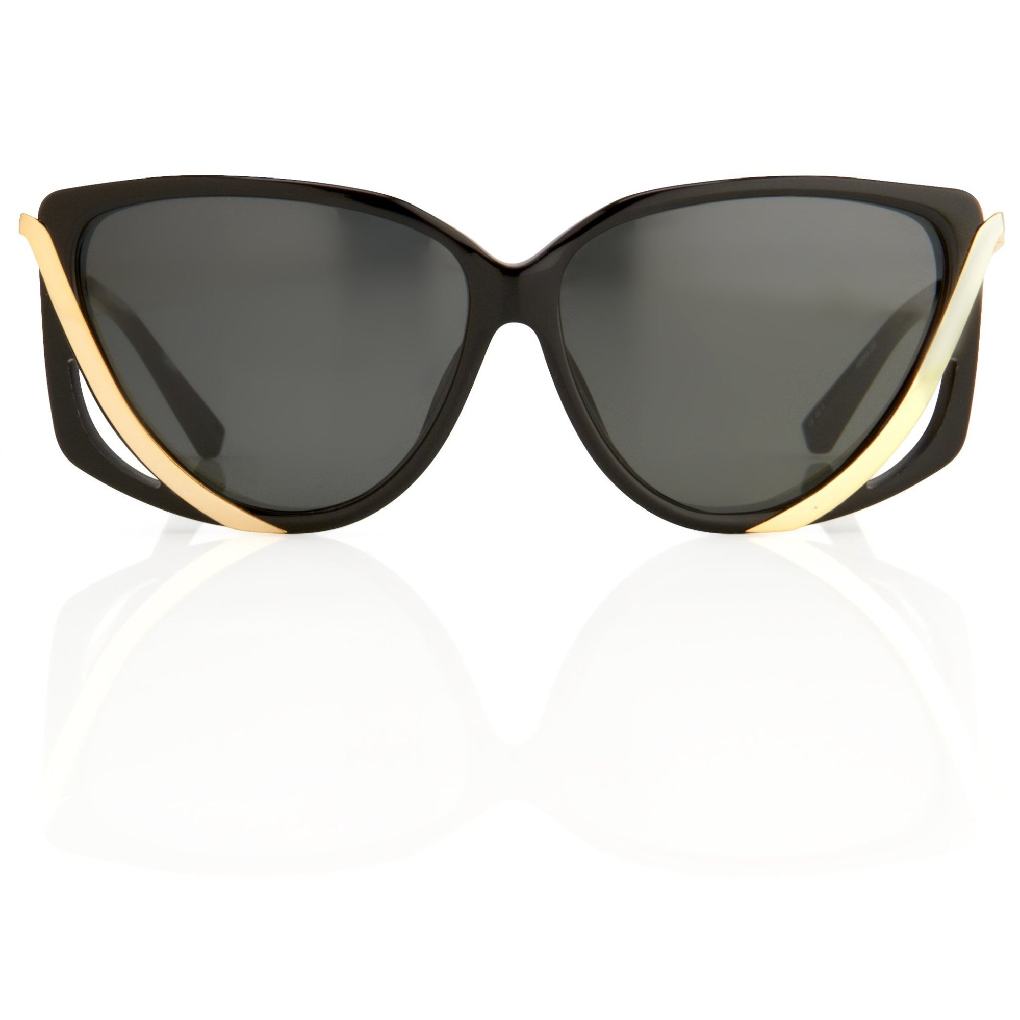 Prabal Gurung Sunglasses Rectangular Black Cut Out With Grey Category 3 Lenses PG4C1SUN - Watches & Crystals