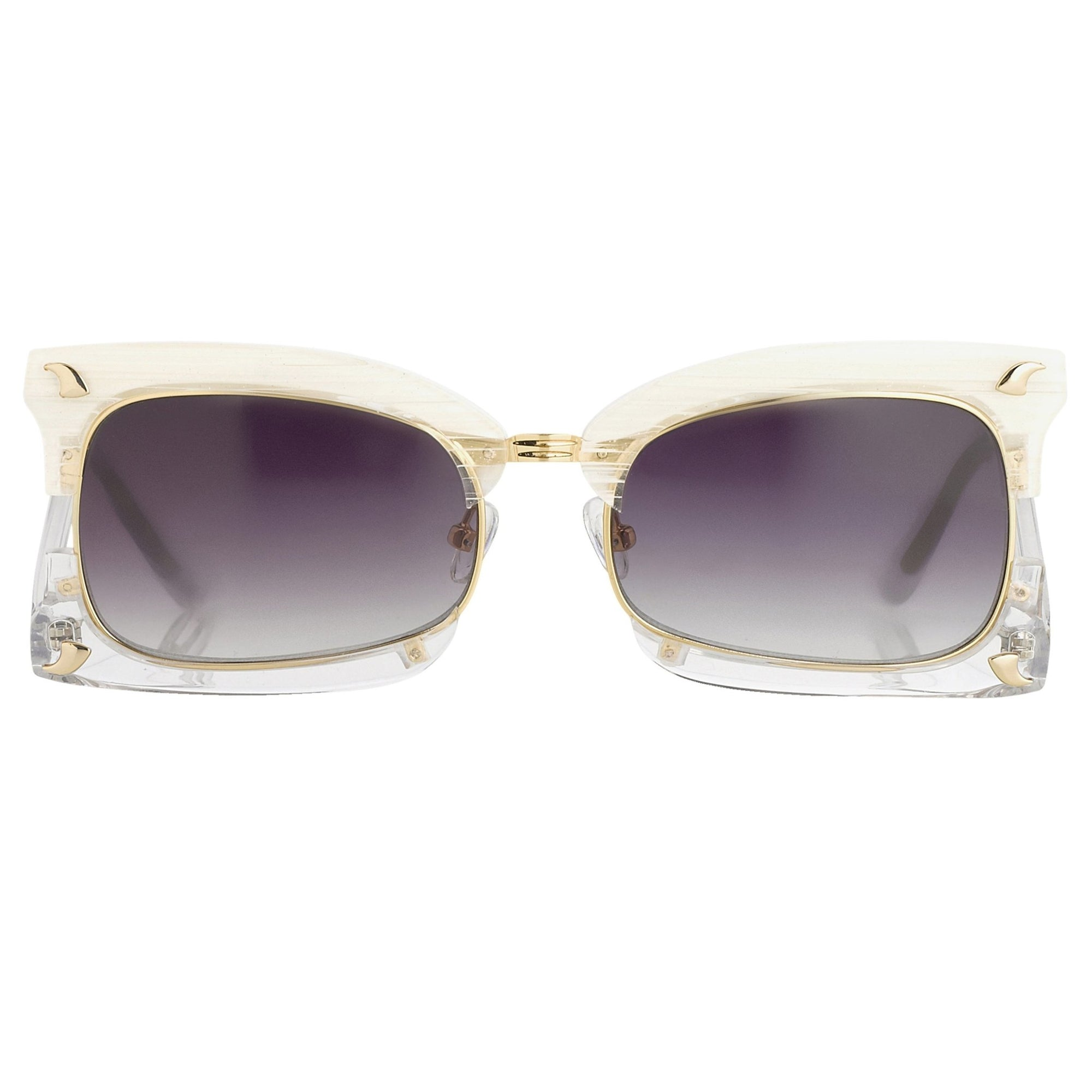 Prabal Gurung Sunglasses Rectangular Textural White With Purple Category 3 Graduated Lenses PG2C2SUN - Watches & Crystals