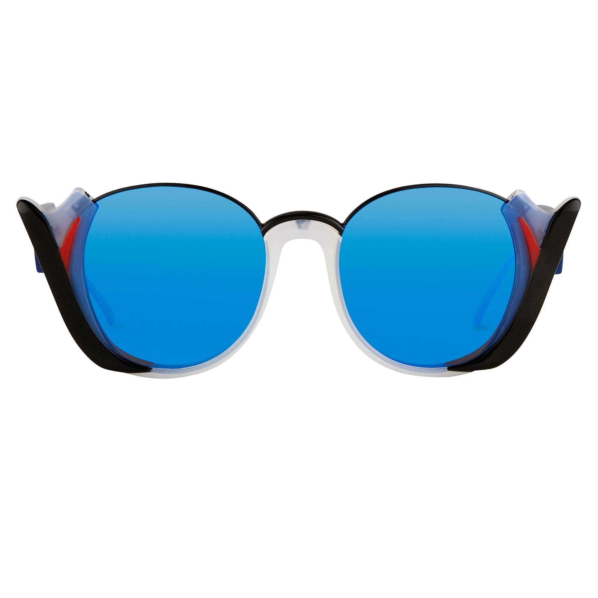 Prabal Gurung Sunglasses Round Black Smokey White With Blue Category 3 Graduated Mirror Lenses PG24C5SUN - Watches & Crystals