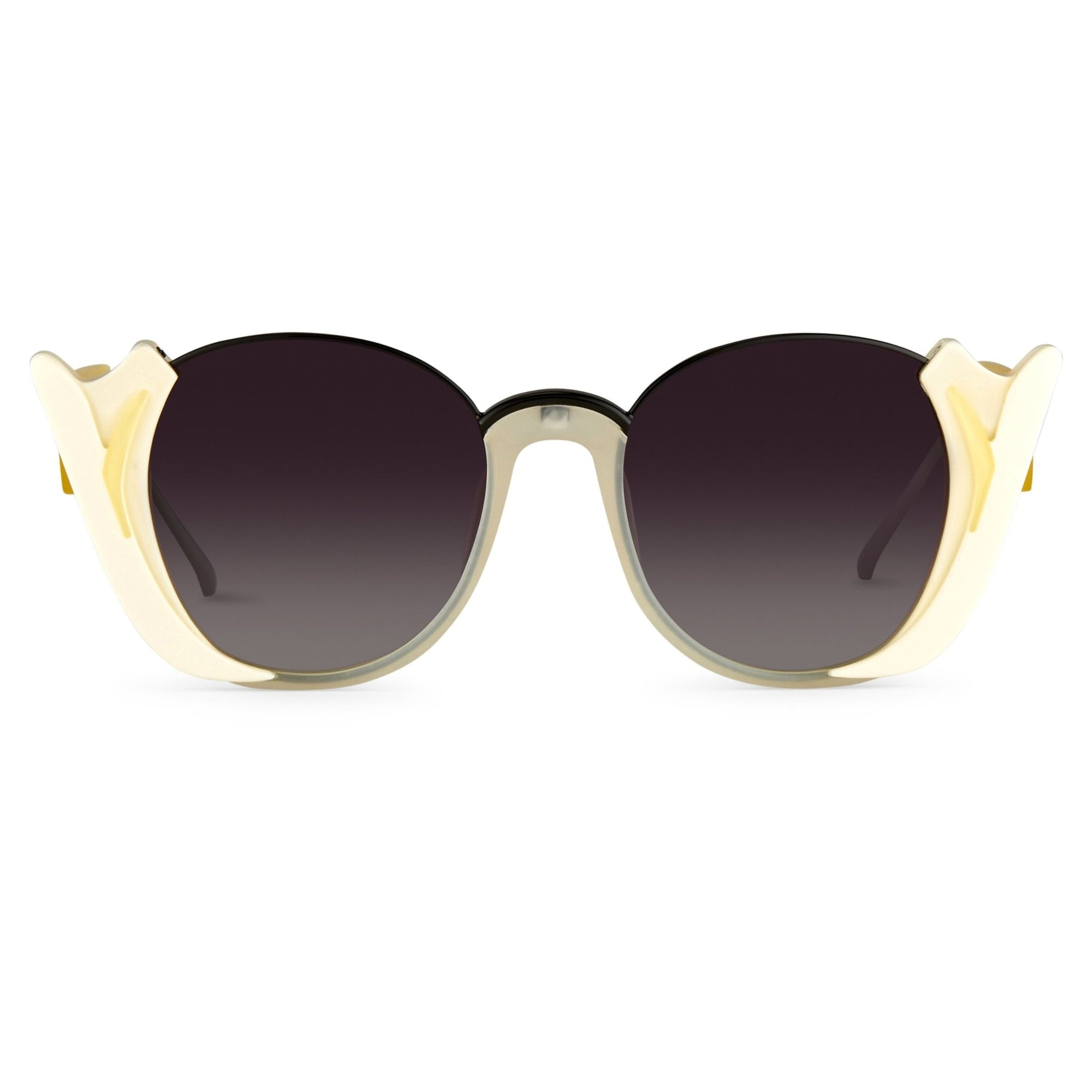 Prabal Gurung Sunglasses Round Clear Ivory White With Dark Grey Category 3 Graduated Lenses PG24C3SUN - Watches & Crystals