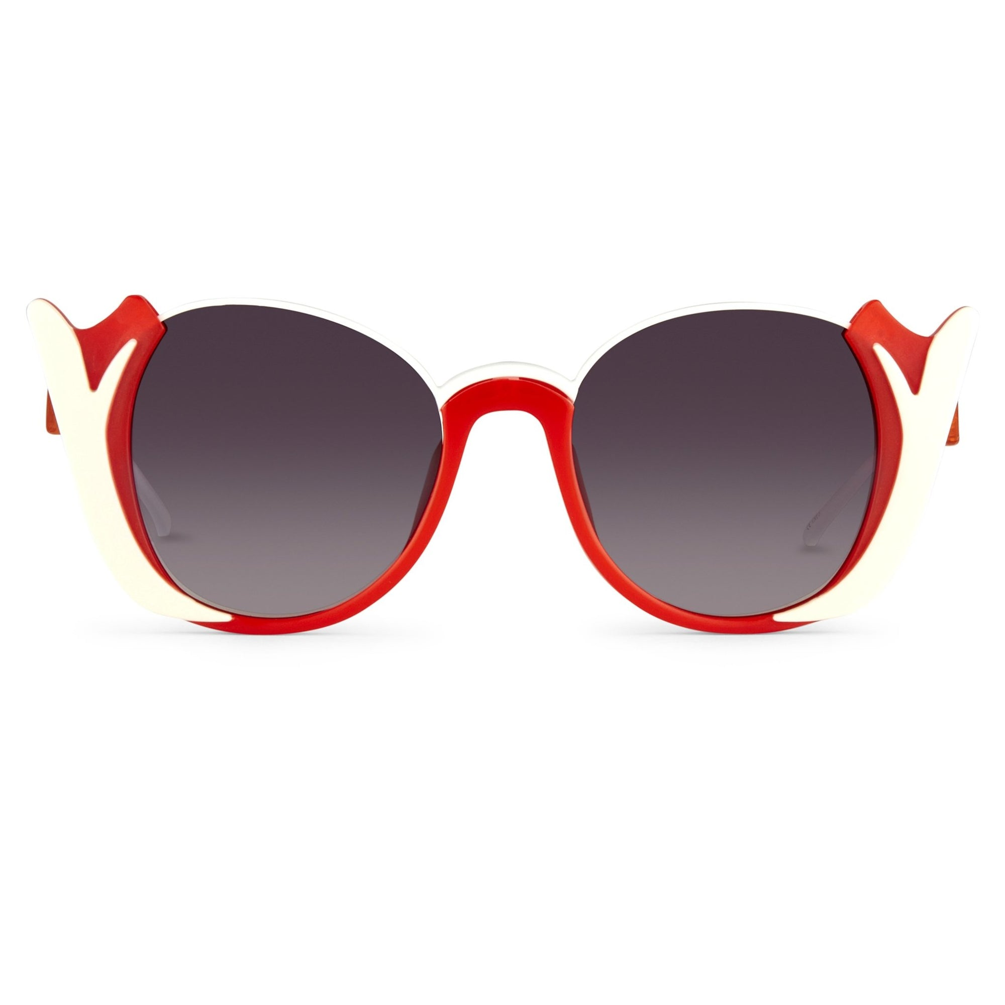 Prabal Gurung Sunglasses Round Crimson Ivory White With Dark Grey Category 3 Graduated Lenses PG24C4SUN - Watches & Crystals