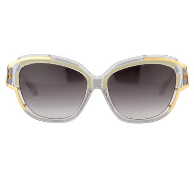 Prabal Gurung Sunglasses Square Clear Olive With Grey Category 3 Graduated Lenses PG8C1SUN - Watches & Crystals