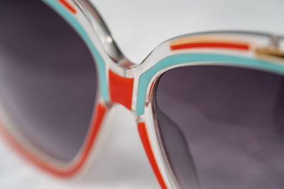 Prabal Gurung Sunglasses Square Clear Red Sky Blue With Grey Category 3 Graduated Lenses PG8C2SUN - Watches & Crystals