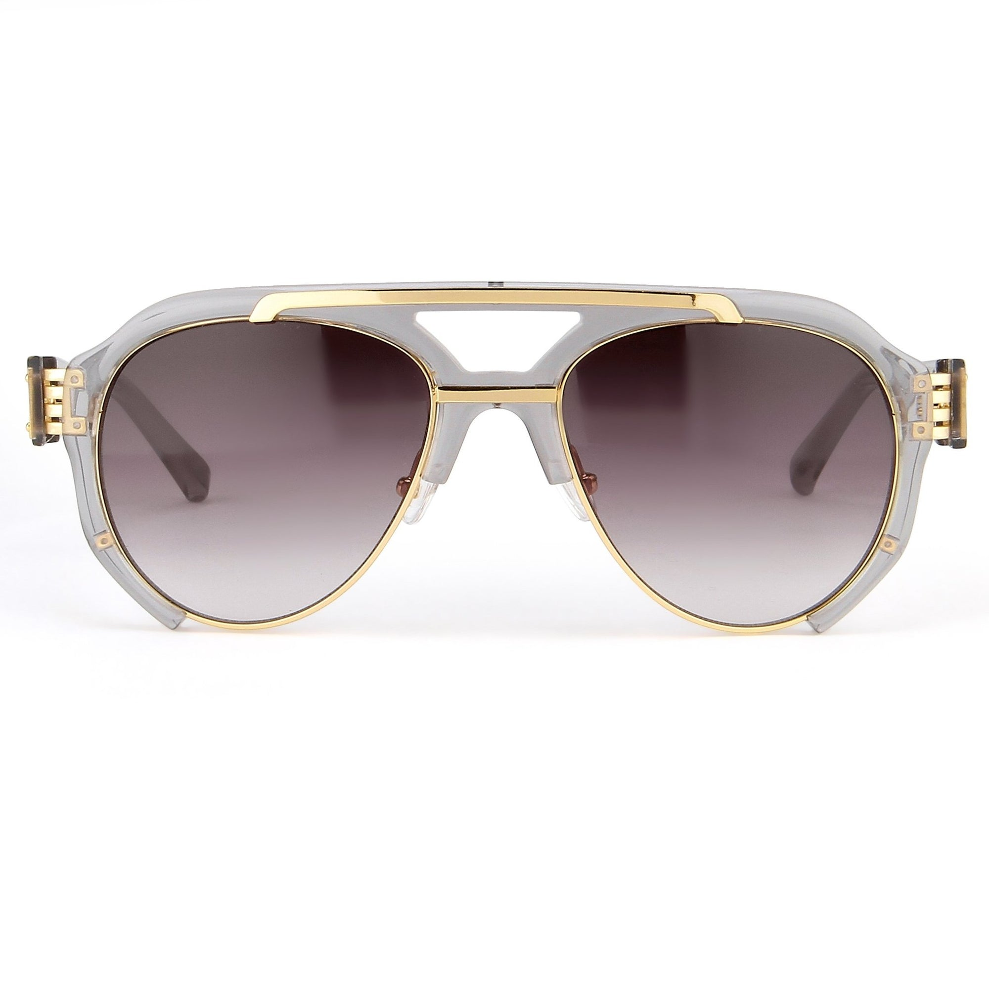 Prabal Gurung Sunglasses Unisex Aviator Smoke Acetate and Gold CAT3 Grey Gradient Lenses PG11C3SUN - Watches & Crystals