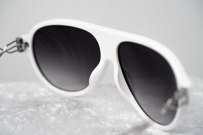 Prabal Gurung Sunglasses Unisex Aviator White Acetate CAT2 Grey Gradient Lenses PG16C3SUN - Watches & Crystals