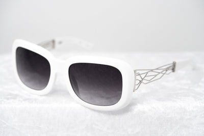 Prabal Gurung Sunglasses Women's Rectangle White Acetate CAT2 Grey Lenses PG13C3SUN - Watches & Crystals