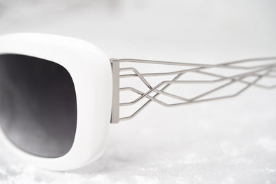 Prabal Gurung Sunglasses Women's Rectangle White Acetate CAT2 Grey Lenses PG14C3SUN - Watches & Crystals