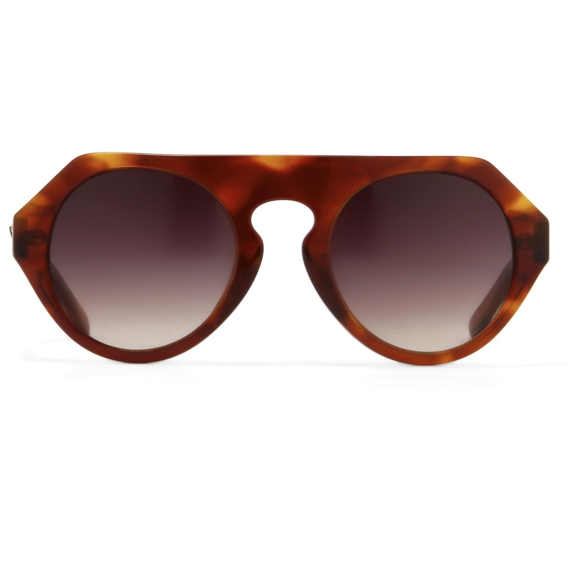 Prabal Gurung Sunglasses Women's Round Flat Top Tortoise Shell Acetate and Light Gold CAT3 Grey Gradient Lenses PG15C2SUN - Watches & Crystals