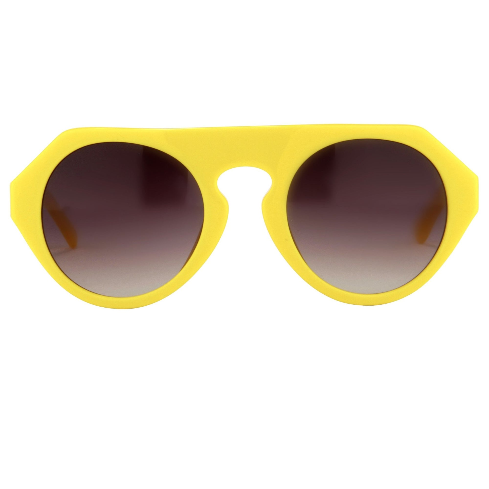 Prabal Gurung Sunglasses Women's Round Flat Top Yellow Acetate CAT2 Grey Gradient Lenses PG15C4SUN - Watches & Crystals