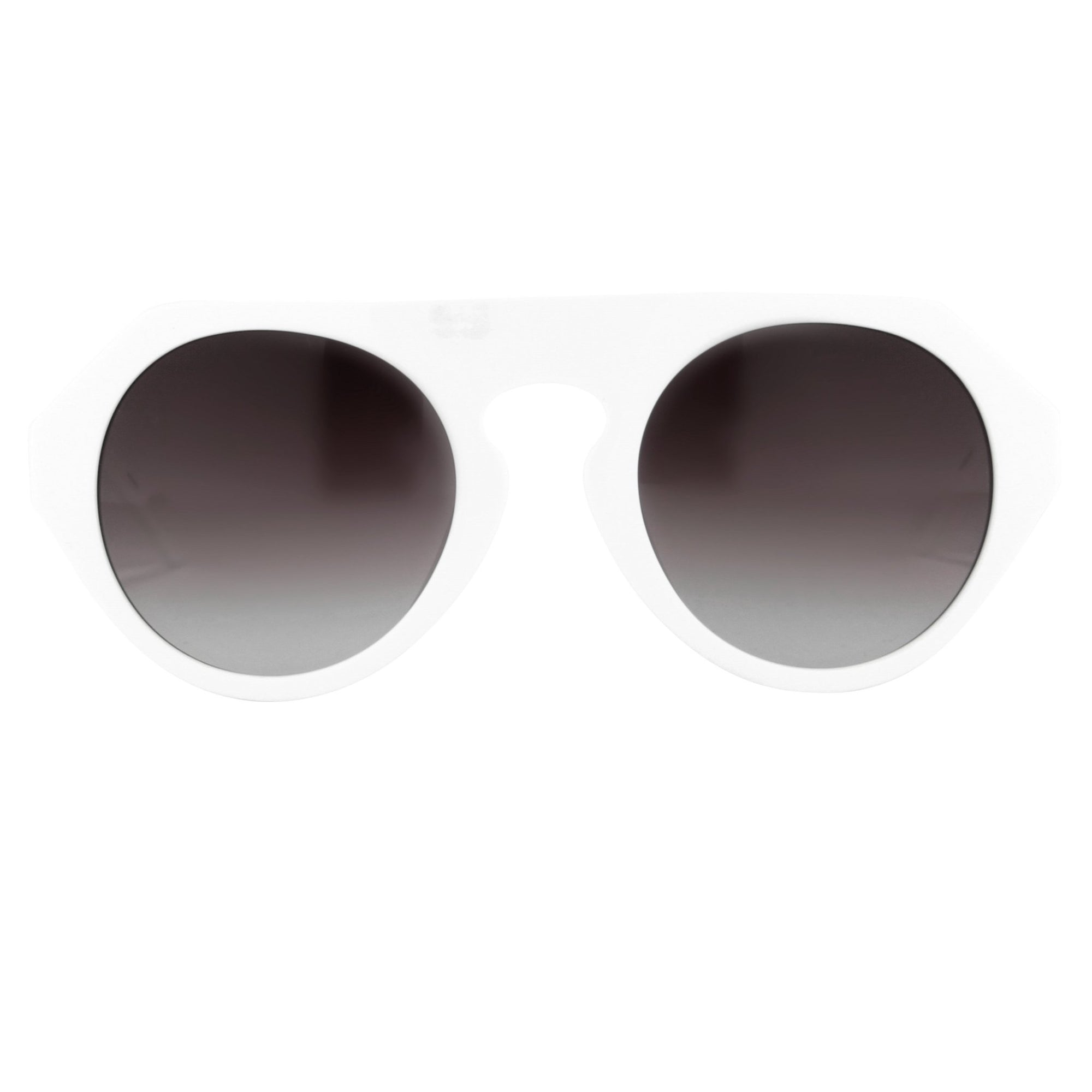 Prabal Gurung Sunglasses Women's Round White Acetate CAT2 Grey Gradient Lenses PG15C3SUN - Watches & Crystals