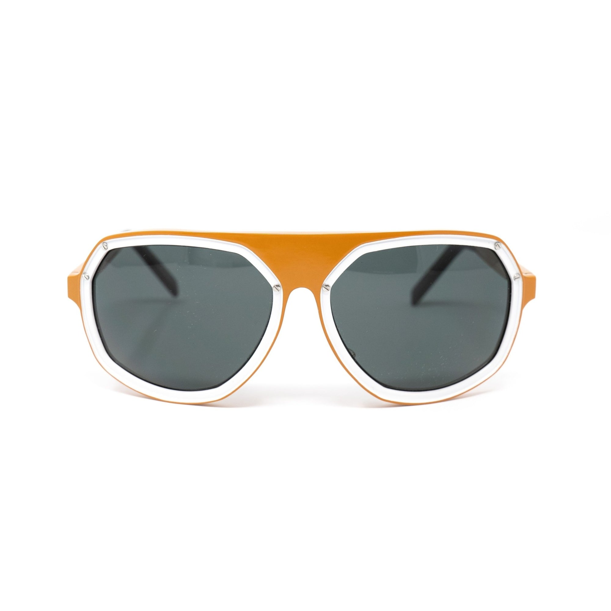Raf Simons Sunglasses Angular Wrap Orange White Aluminium and Grey Lenses Category 3 - 8RAF5CORANGEWHITE - Watches & Crystals