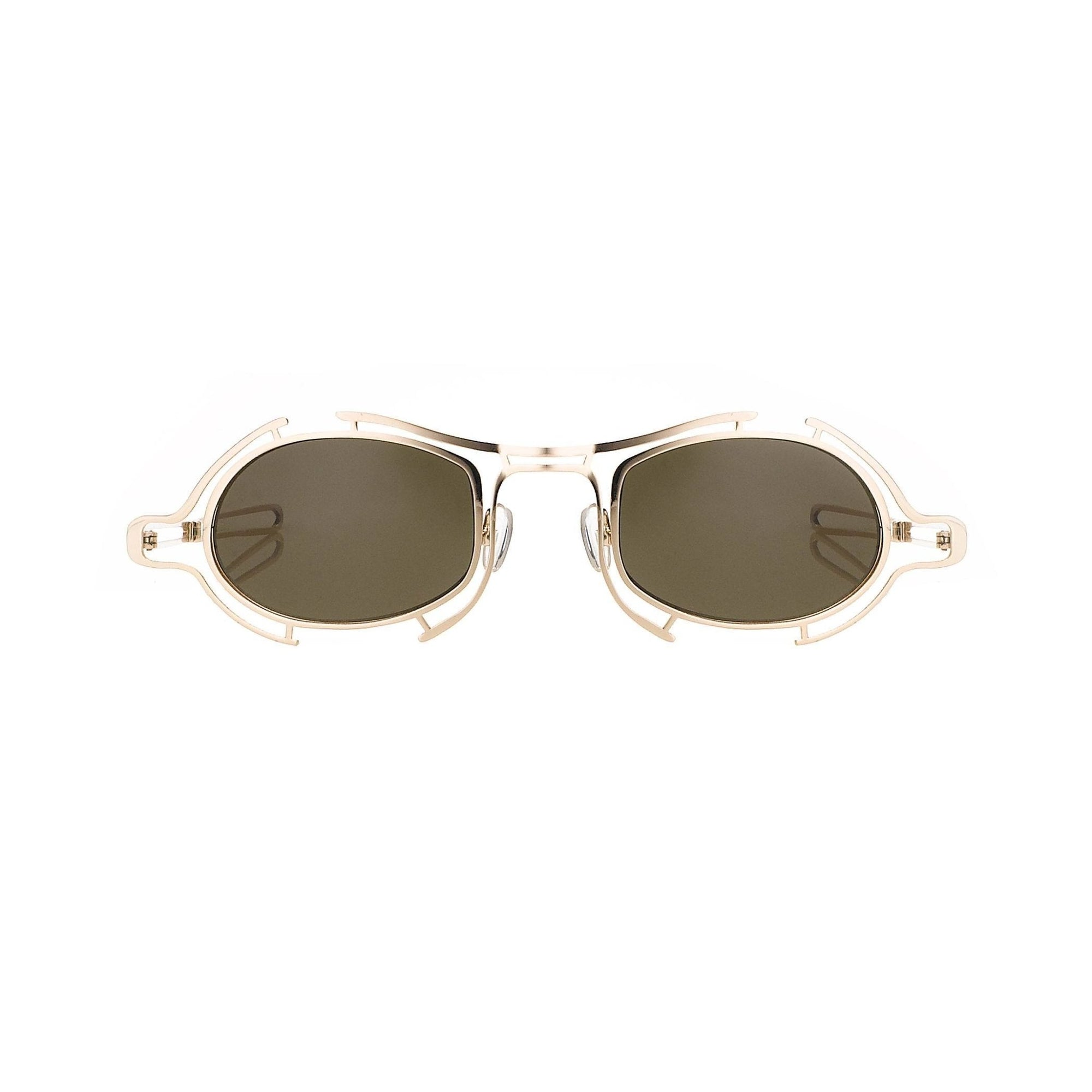 Raf Simons Sunglasses Special Shape Gold and Brown Lenses Category 3 - 9RAF13C3SHINYGOLD - Watches & Crystals