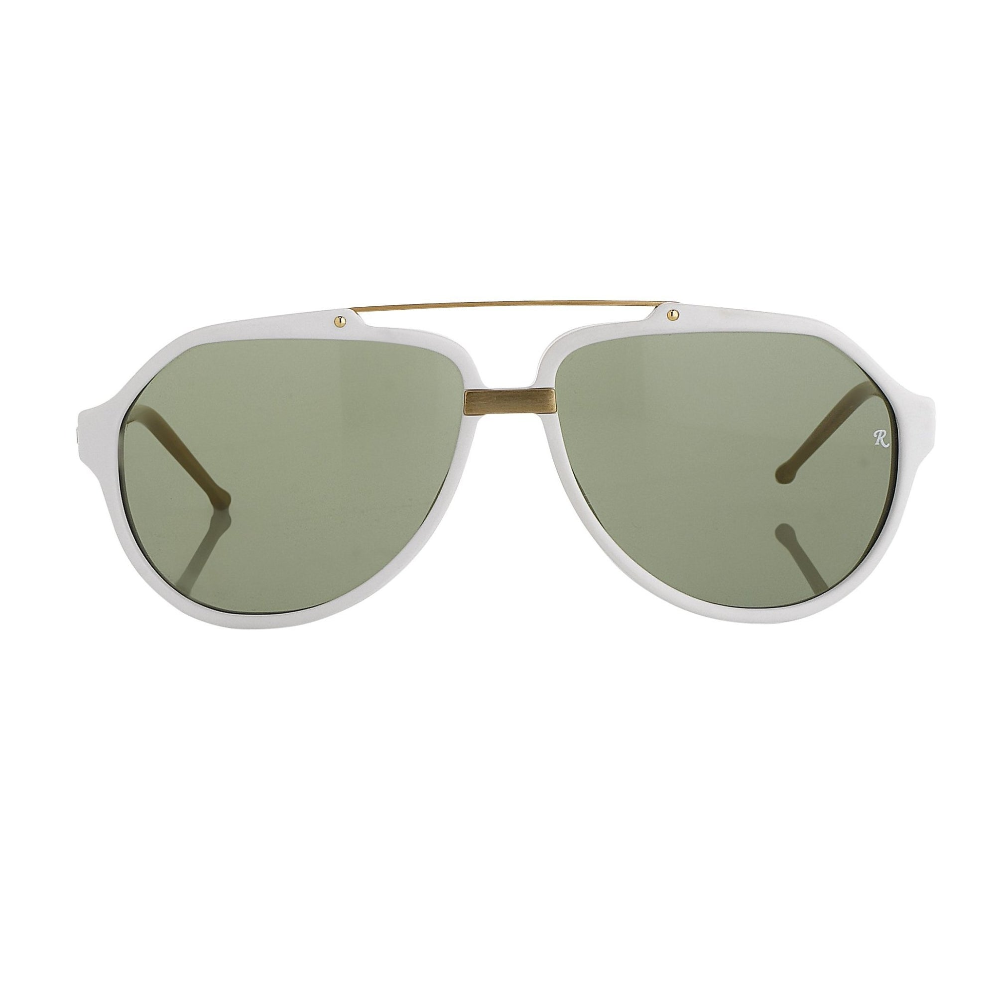 Raf Simons Sunglasses White Brushed Gold and Green Lenses - RAF14C7SUN - Watches & Crystals