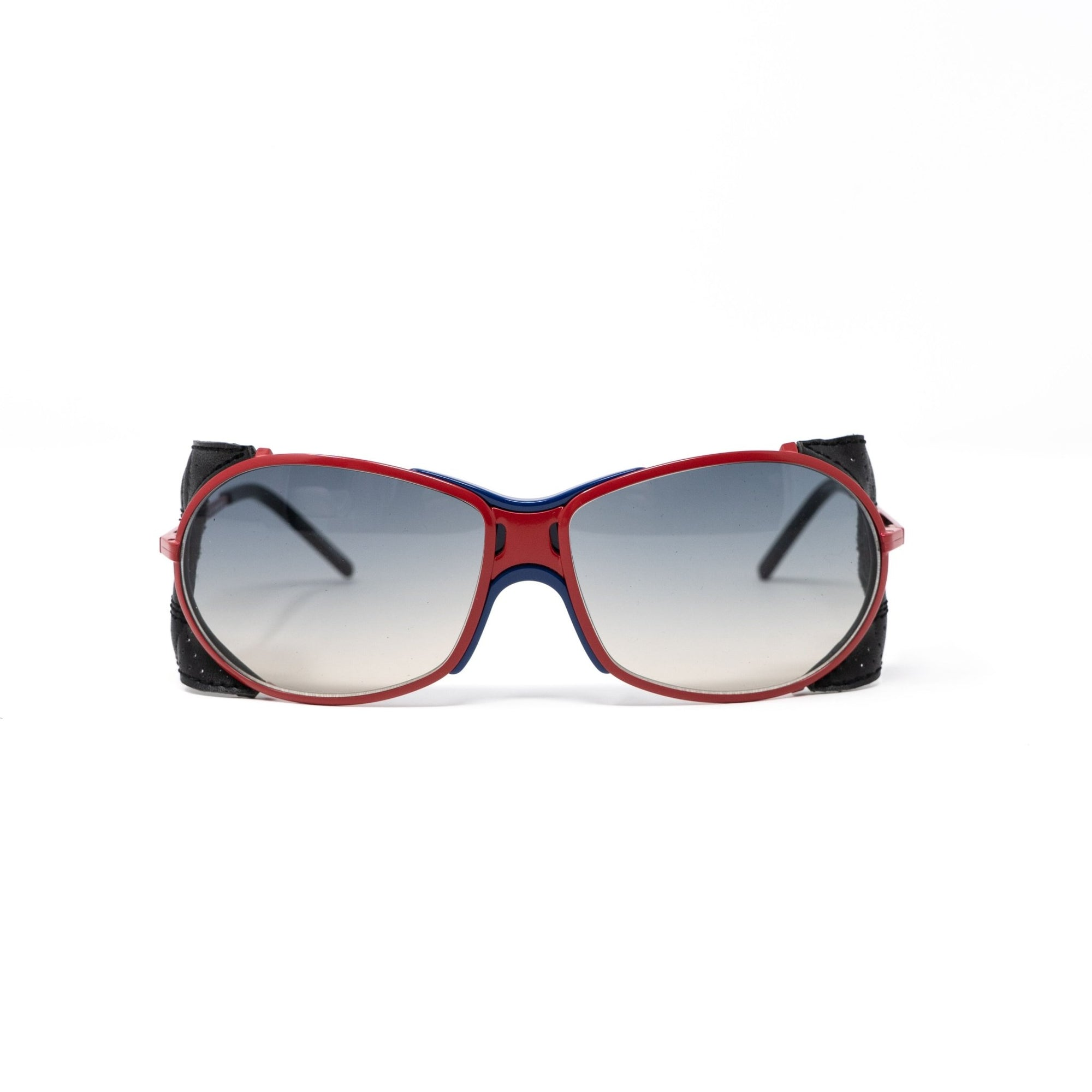 Raf Simons Sunglasses Wrap Red Leather Trim Sports and Silver Mirror Lenses - 8RAF3ARED - Watches & Crystals