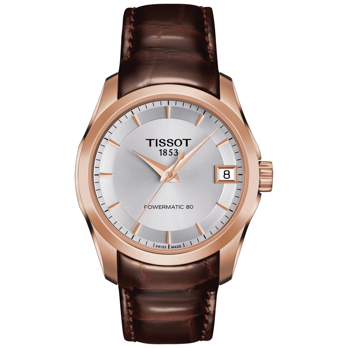Tissot T-Classic Couturier Powermatic 80 Date Leather Rose Gold - Watches & Crystals