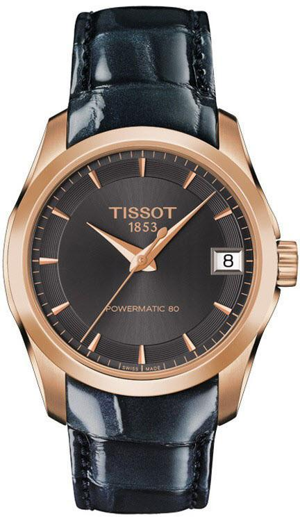 Tissot T-Classic Couturier Powermatic 80 Date Purple Rose Gold - Watches & Crystals