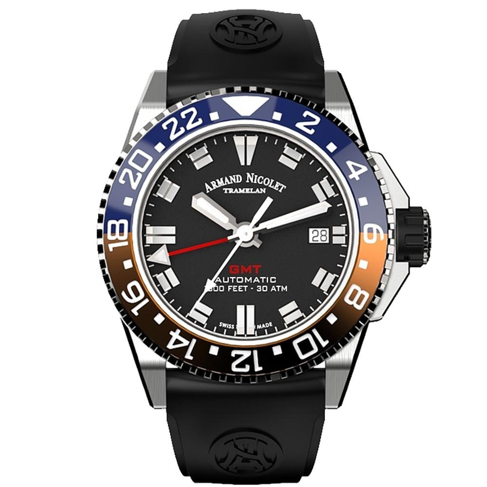 Title: Armand Nicolet JS9-41 GMT Black Stainless Steel - Watches & Crystals
