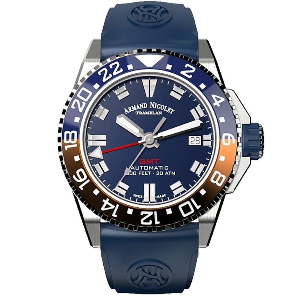 Title: Armand Nicolet JS9-41 GMT Blue Stainless Steel - Watches & Crystals