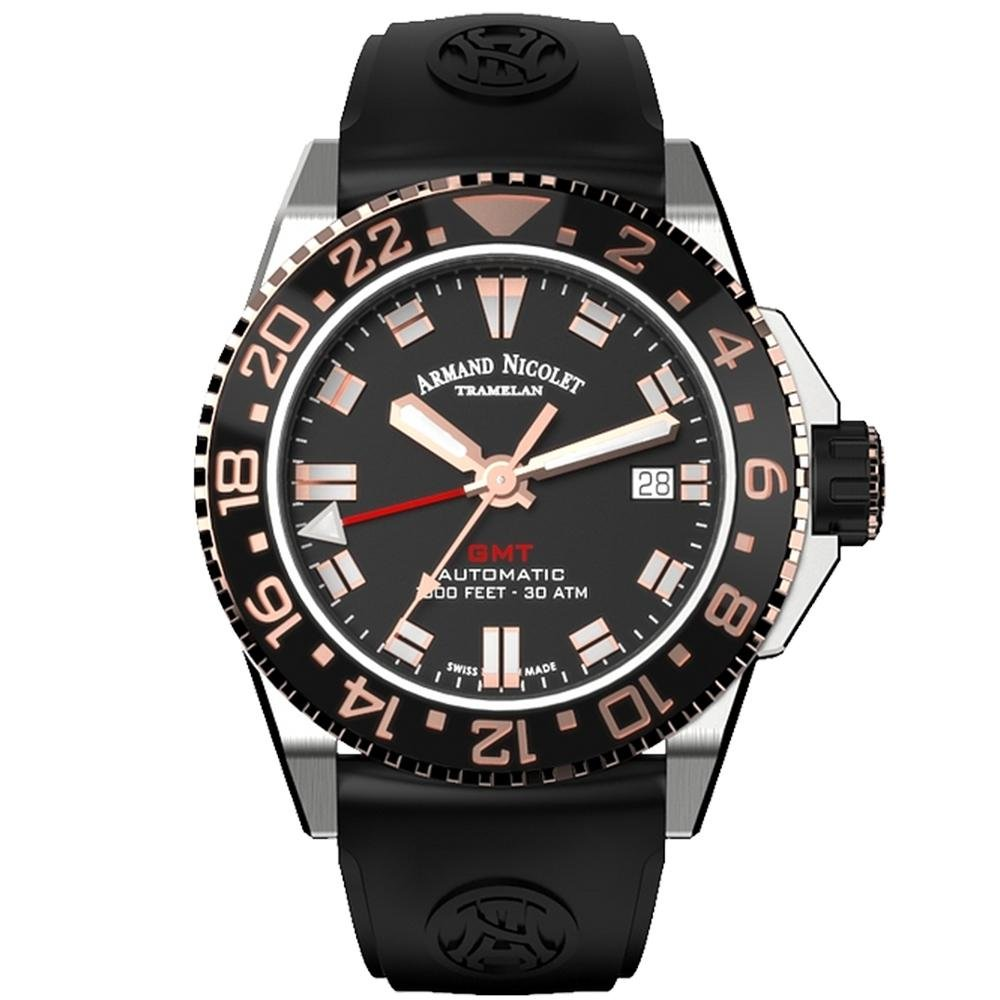 Title: Armand Nicolet JS9-41 GMT Stainless Steel Black Ceramic Bezel - Watches & Crystals