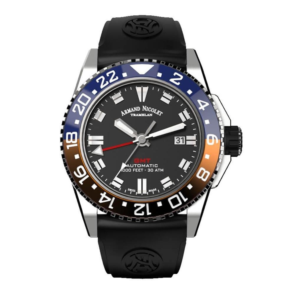 Title: Armand Nicolet JS9-44 GMT Red and Blue Bezel - Watches & Crystals