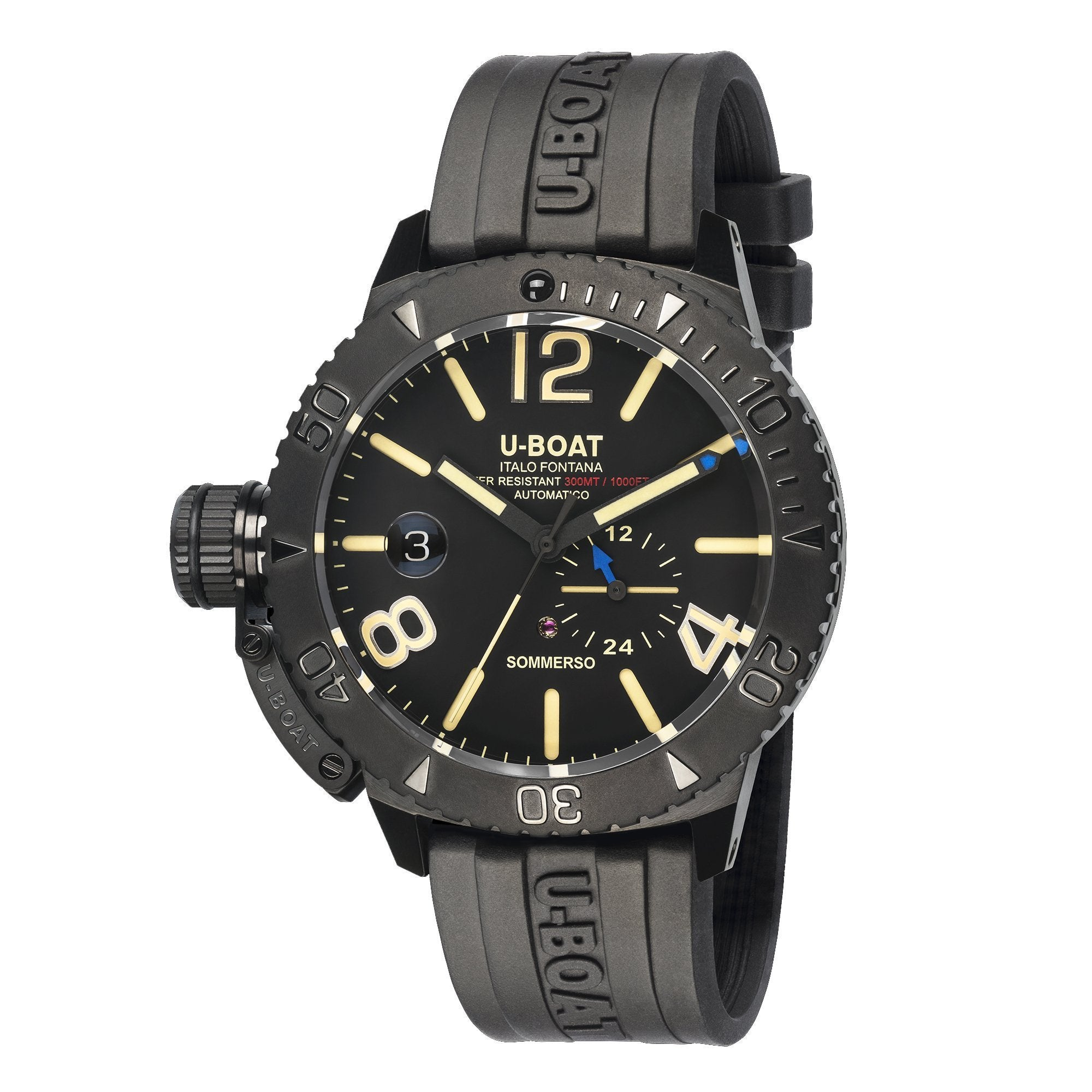 U-Boat Sommerso 46 Diver Date Black DLC - Watches & Crystals