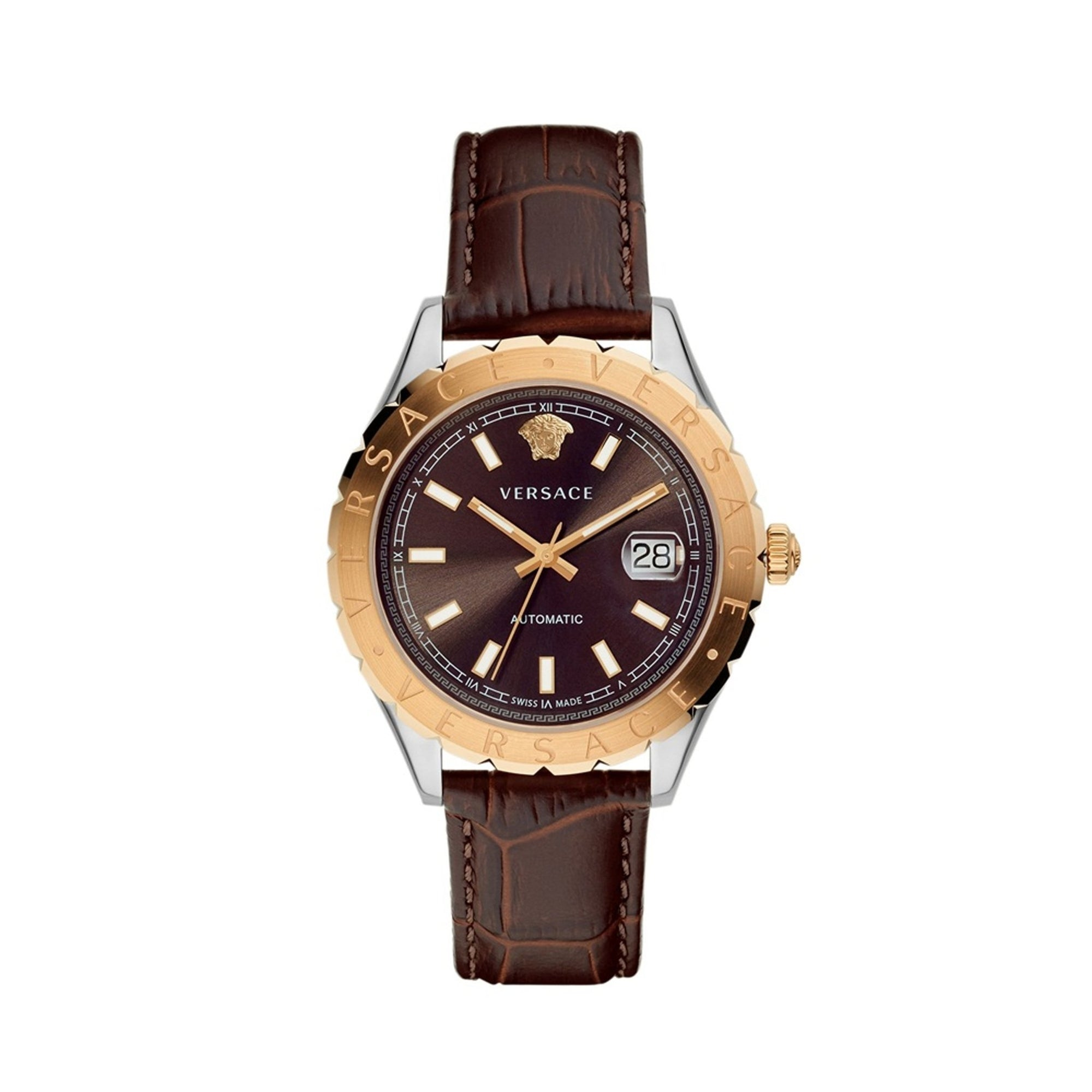 Versace Hellenyium Brown Leather - Watches & Crystals