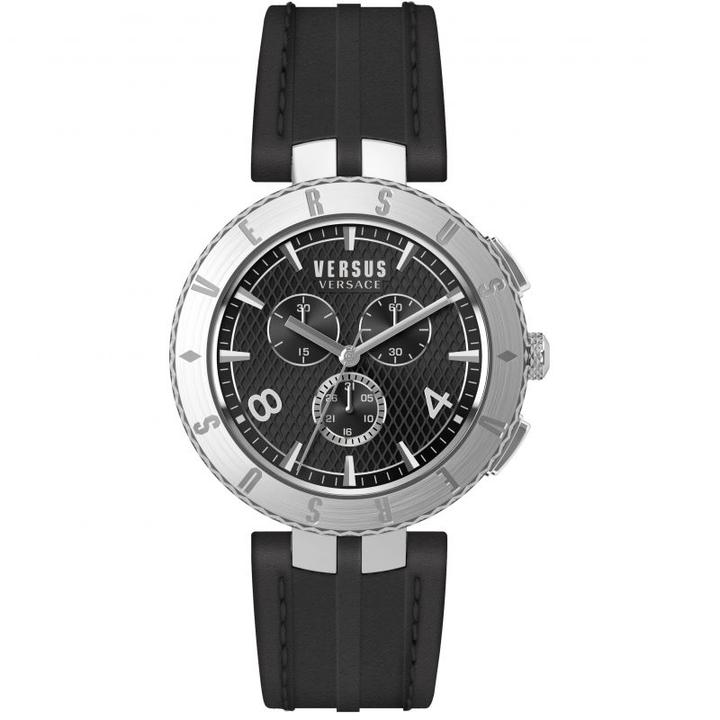 Versus Versace Logo Chronograph Leather Strap - Watches & Crystals