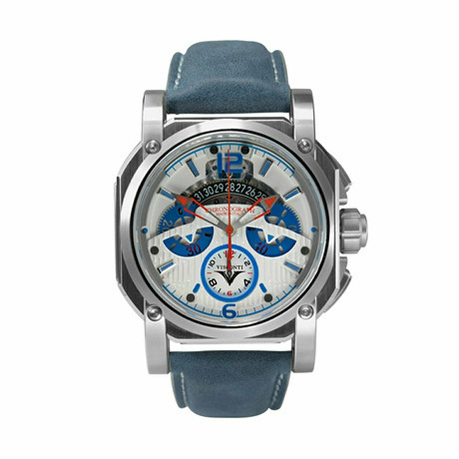Visconti Automatic Watch 2Squared Chrono Speedboat Blue Leather KW35-02 - Watches & Crystals