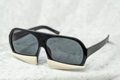 Walter Van Beirendonck Sunglasses Special Frame Black/Matt Bone and Grey Lenses - WVB7C6SUN - Watches & Crystals