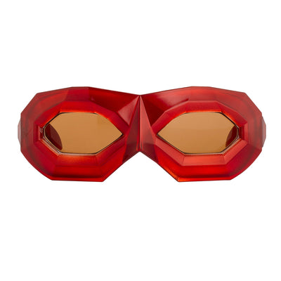 Walter Van Beirendonck Sunglasses Special Frame Shiny Red and Brown Lenses - WVB2C6SUN - Watches & Crystals