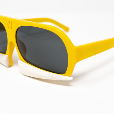 Walter Van Beirendonck Sunglasses Special Frame Yellow/Matt Bone and Grey Lenses - WVB7C4SUN - Watches & Crystals