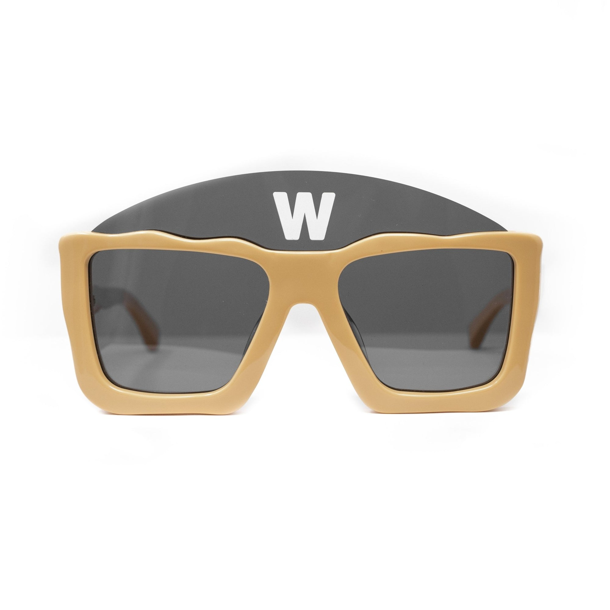 Walter Van Beirendonck Sunglasses Square Tan and Dark Grey Lenses - WVB1C1SUN - Watches & Crystals